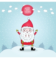 Cute cartoon Santa Claus and winter nature vector image