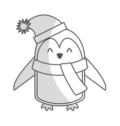 cute shadow christmas penguin cartoon vector image