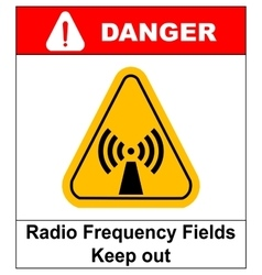 Danger banner radio frequency field in yellow vector image