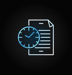 document with blue clock icon file with vector image