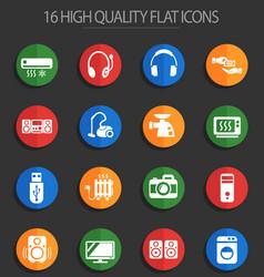 electronics supermarket 16 flat icons vector image