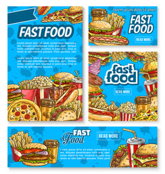 fast food poster with fastfood meal and drink vector image