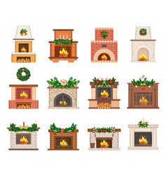 Fireplace decorated christmas toys set vector