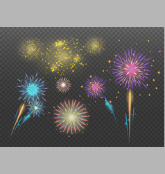 Fireworks collections on transparent background vector
