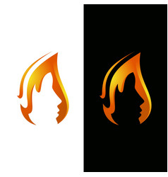 Flame and face logo template vector