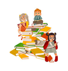 flat boy girl reading sitting at big book vector image
