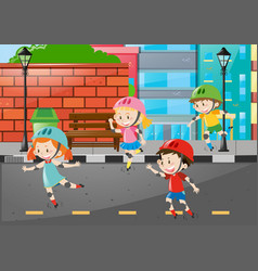 four kids rollerskate on the road vector image
