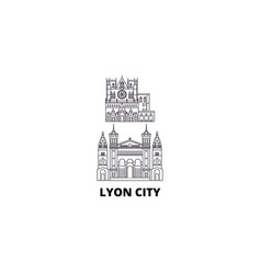 France lyon city line travel skyline set france vector