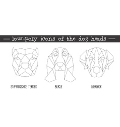 Front view of dog head triangular icon set vector