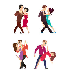 Funny couples dancing latin and foxtrot dance vector