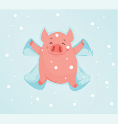 funny pig in the snow makes snow angel vector image