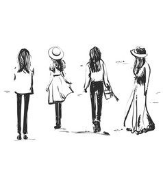 Girls on a stroll people are walking person vector