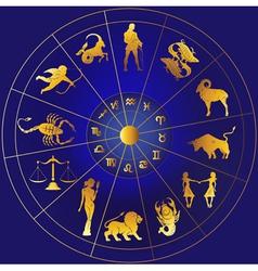 Golden zodiac icons in a circle vector image