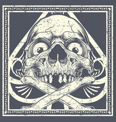 grunge style skull with crossbones vector image