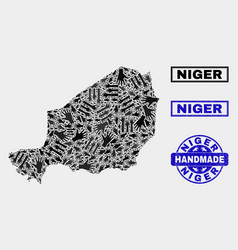 Handmade composition niger map and grunge seal vector