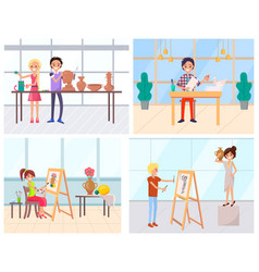 handmade hobby man and woman art education vector image