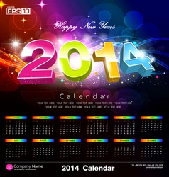 Happy new year Calendar 2014 vector image