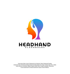 head care logo head intelligence logo designs vector image