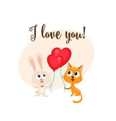 I love you card with bunny cat heart shaped vector