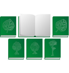 icon set with green books and nature symbols vector image
