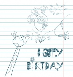 inscription happy birthday with giraffe vector image