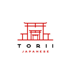 japanese torii gate temple logo vector image