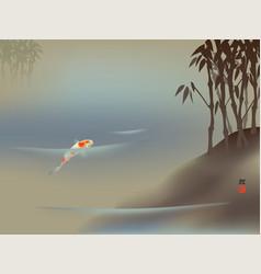 Koi carp and bamboo vector