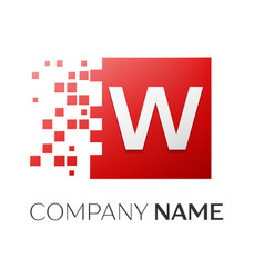 Letter w logo symbol in the colorful square with vector