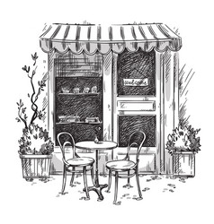Little cosy cafe sketch vector