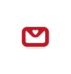 love heart envelope sign logo vector image