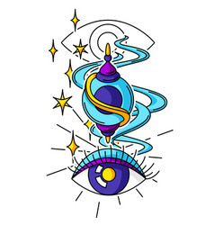 Magic amulet and all-seeing eye mystic alchemy vector