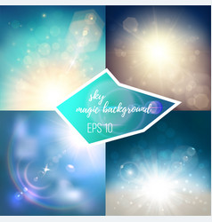 Magic sky backgrounds set vector