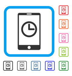 mobile clock framed icon vector image