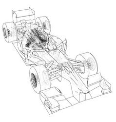 model speed car abstract drawing wire-frame vector image