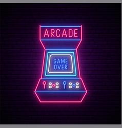 Neon arcade game machine sign glowing vector