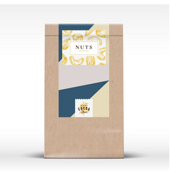 Nuts chocolate craft paper bag product label vector