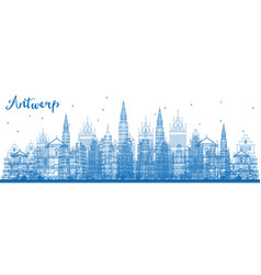 Outline antwerp belgium city skyline with blue vector