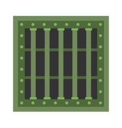 Prison cell window with metal green grill vector