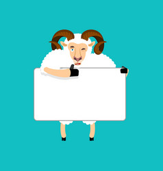 ram holding banner blank sheep and white blank vector image