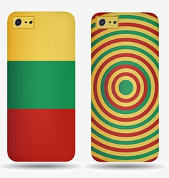 Rear covers smartphone with flags of Lithuania vector image