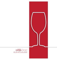 Ribbon in the form of wine glass with shadow and vector