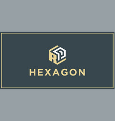 rp hexagon logo design inspiration vector image