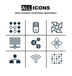 set of 9 robotics icons includes computing vector image