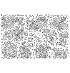 Set of bathroom doodles designs vector