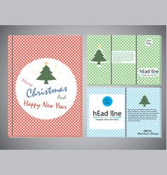 set of christmas brochures in vintage style vector image