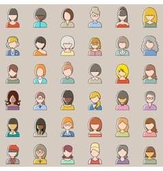 Set of outline people icons Women vector image