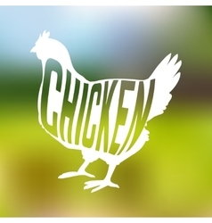 silhouette farm hen black with text inside on vector image