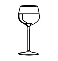 Silhouette wine drink cocktail glass vector