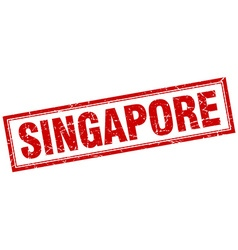 Singapore red square grunge stamp on white vector
