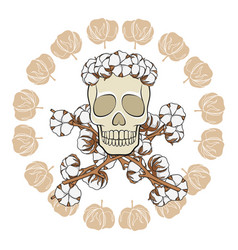 skull in a wreath cotton buds vector image